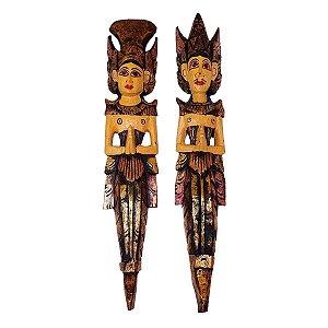Escultura Rama e Sita de Madeira Balsa Trad. Dourado 50cm