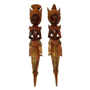 Escultura Rama e Sita de Madeira Balsa Marrom e Dourado 50cm