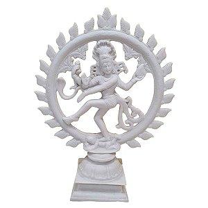 Shiva Nataraja de Pó de Mármore Branco 40cm