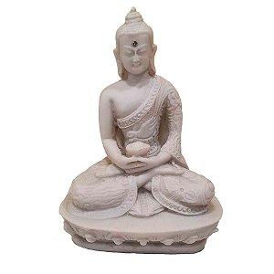 Buda Sidarta Pó de Mármore Meditação Branco 13.5cm (Modelo 1)