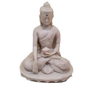 Buda Sidarta de Pó de Mármore Meditação Branco 13.5cm (Modelo 2)
