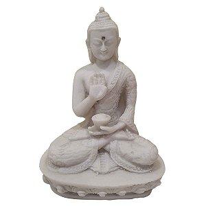 Buda Sidarta de Pó de Mármore Proteção Branco 13.5cm