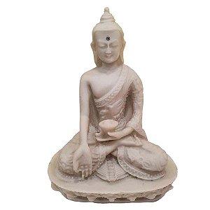 Buda Sidarta de Pó de Mármore Meditação Branco 13.5cm (Modelo 3)