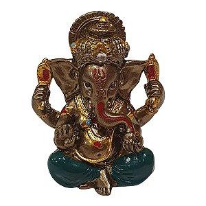 Mini Ganesha de Resina Verde 5cm