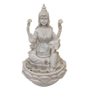 Fonte Lakshmi de Pó de Mármore Branca 30cm