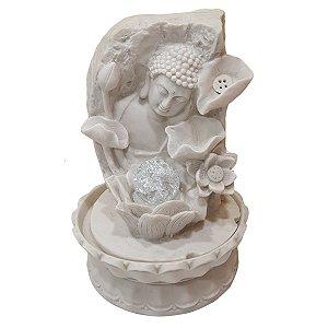 Fonte Buda Sidarta Flores de Pó de Mármore Branca 30cm