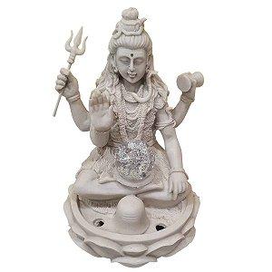 Fonte Shiva de Pó de Mármore Branca 30cm