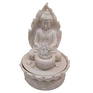 Fonte Buda Sidarta Meditação Folha de Pó de Mármore Branca 20cm