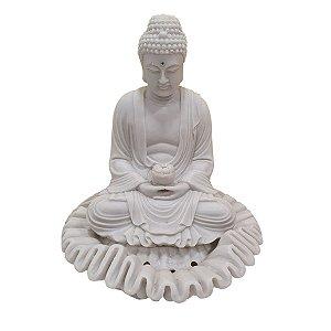 Fonte Buda Sidarta Meditação de Pó de Mármore Branca 27cm