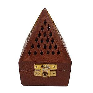 Incensário Cone Pirâmide de Madeira Marrom 12cm