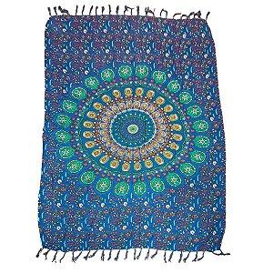 Canga de Praia 100% Viscose - Mandala Flor Azul 1.60mx1.10m
