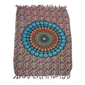 Canga de Praia 100% Viscose - Mandala Flor Colorida 1.60mx1.10m