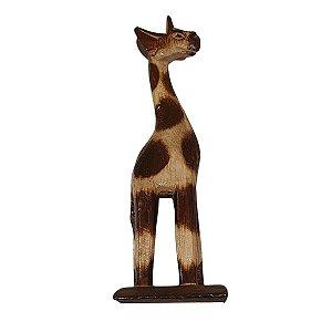 Girafa Entalhada de Madeira Balsa Pintas 20cm