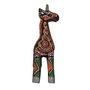 Girafa Entalhada de Madeira Balsa Dots 15cm