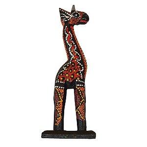 Girafa Entalhada de Madeira Balsa Dots 20cm - Com Base