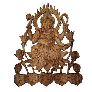 Entalhe Ganesha de Madeira Suar 48cm