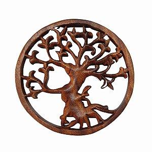 Mandala Árvore da Vida de Madeira Suar 20cm