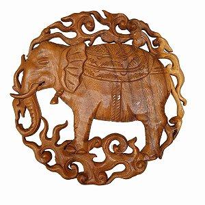 Mandala Elefante Entalhado de Madeira Suar 30cm