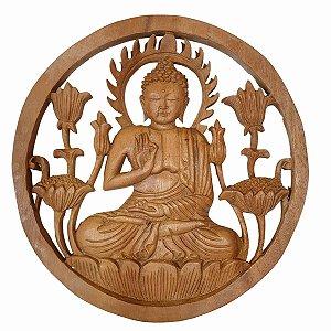 Mandala Buda de Madeira Suar 25cm