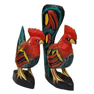 Galo e Galinha Decorativos Madeira Balsa 35cm