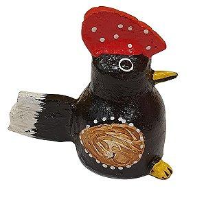 Galo Decorativo de Madeira Balsa Preto 8cm