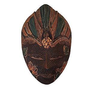 Máscara Batik Madeira Balsa Marrom Pássaro 21cm