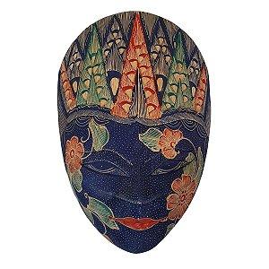 Máscara Batik Madeira Balsa Azul Caneta 30cm