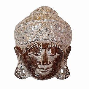 Máscara Cabeça de Buda Madeira Balsa Cinza com Prateado 15cm