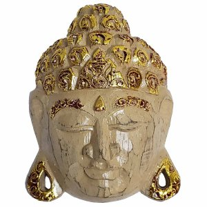 Máscara Cabeça de Buda de Madeira Balsa Bege com Dourado 15cm
