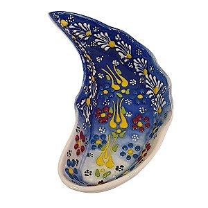 Mini Petisqueira Turca Pintada de Cerâmica Meia Lua Azul e Branca 15cm