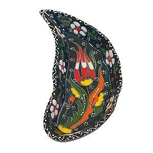 Mini Petisqueira Turca Pintada de Cerâmica Meia Lua Verde Escuro 15cm