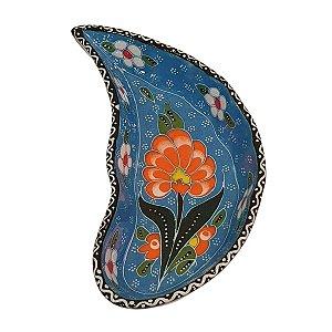 Mini Petisqueira Turca Pintada de Cerâmica Meia Lua Azul Bebê 15cm