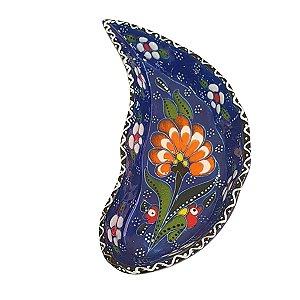 Mini Petisqueira Turca Pintada de Cerâmica Meia Lua Azul Royal 15cm