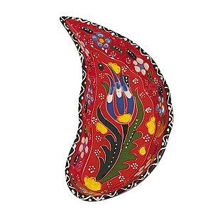 Mini Petisqueira Turca Pintada de Cerâmica Meia Lua Vermelha 15cm