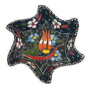 Mini Petisqueira Turca Pintada de Cerâmica Estrela Torta Verde Escuro 14cm