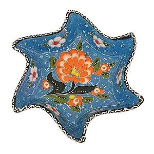 Mini Petisqueira Turca Pintada de Cerâmica Estrela Torta Azul Bebê 14cm
