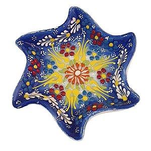 Mini Petisqueira Turca Pintada de Cerâmica Estrela Torta Azul Caneta 14cm