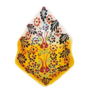 Mini Petisqueira Turca Pintada de Cerâmica Balão Amarelo 14cm