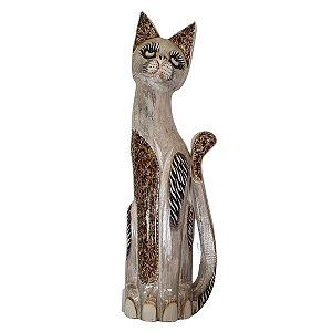 Gato Madeira Balsa Cinza com Flores 50cm