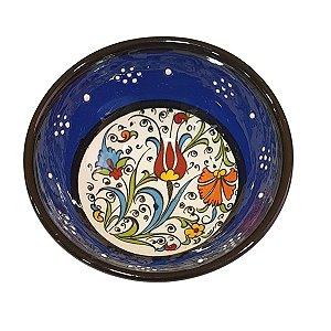 Bowl Turco Pintado de Cerâmica Azul Royal Liso 8cm (Pinturas Diversas)
