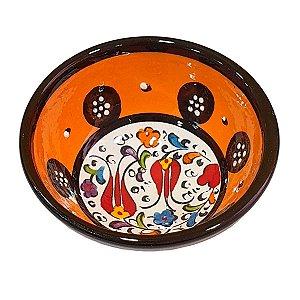 Bowl Turco Pintado de Cerâmica Laranja Liso 8cm (Pinturas Diversas)