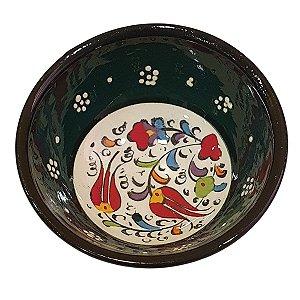 Bowl Turco Pintado de Cerâmica Verde Escuro Liso 8cm (Pinturas Diversas)