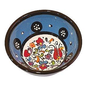 Bowl Turco Pintado de Cerâmica Azul Bebê Liso 8cm (Pinturas Diversas)