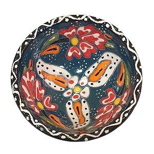 Bowl Turco Pintado de Cerâmica Verde Escuro Estampado 8cm (Pinturas Diversas)