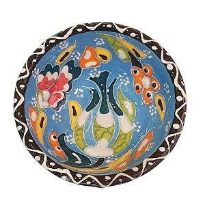 Bowl Turco Pintado de Cerâmica Azul Bebê Estampado 8cm (Pinturas Diversas)
