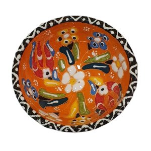Bowl Turco Pintado de Cerâmica Laranja Estampado 8cm (Pinturas Diversas)