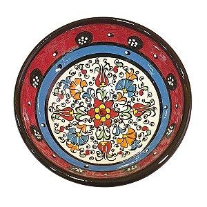 Bowl Turco Pintado de Cerâmica Vermelho Liso 12cm (Pinturas Diversas)