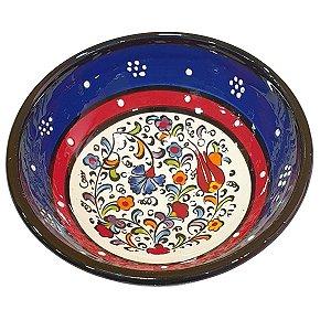 Bowl Turco Pintado de Cerâmica Azul Royal Liso 12cm (Pinturas Diversas)