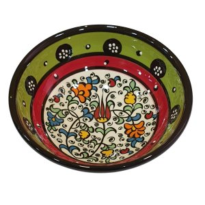 Bowl Turco Pintado de Cerâmica Verde Liso 12cm (Pinturas Diversas)