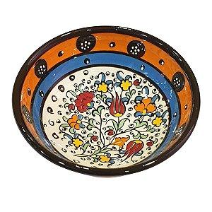 Bowl Turco Pintado de Cerâmica Laranja Liso 12cm (Pinturas Diversas)